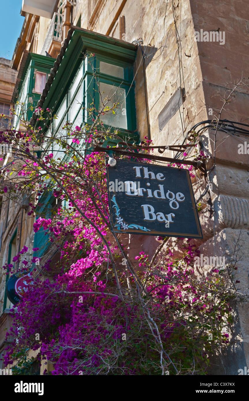 Bridge Bar and traditional balcony Valletta Malta - Stock Image