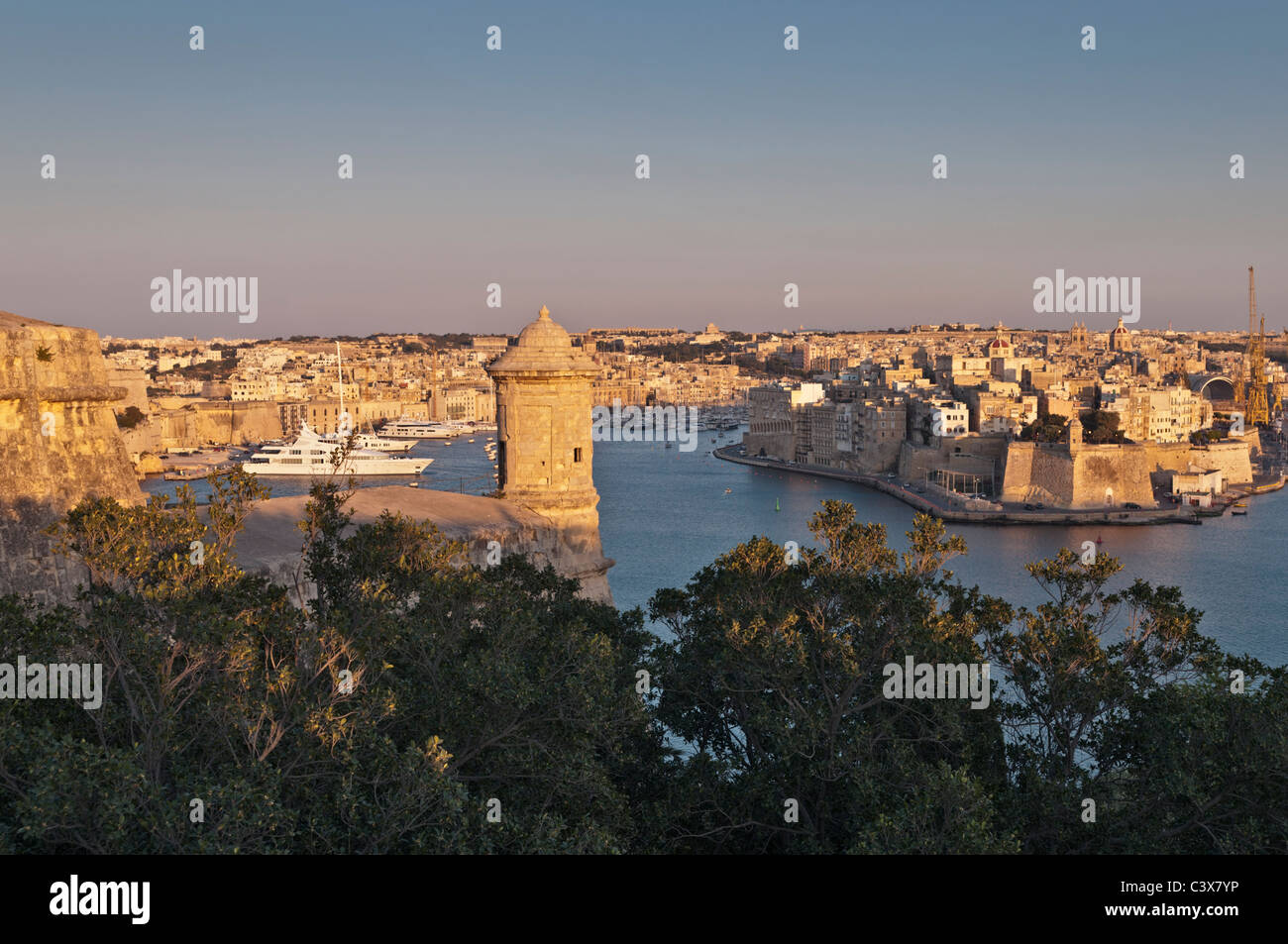 Sentry post and view to Grand Harbour Valletta Malta - Stock Image