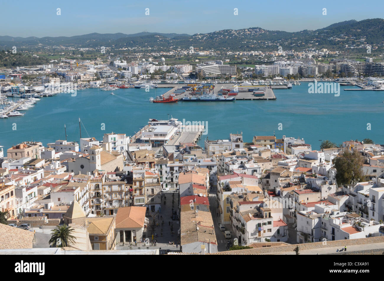 Old town of Eivissa - Stock Image