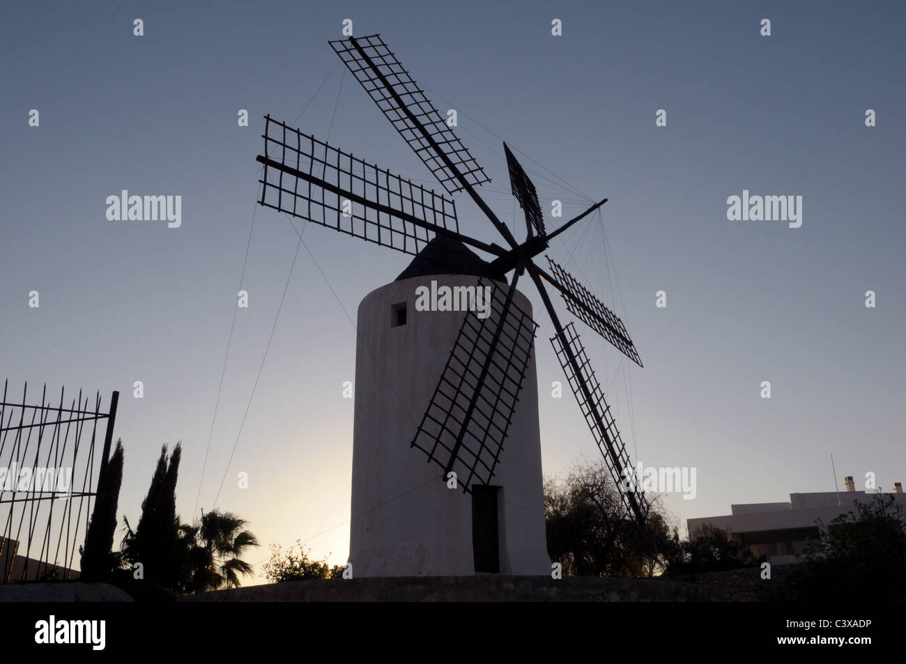 Eivissa Windmill in old town at sunset - Stock Image