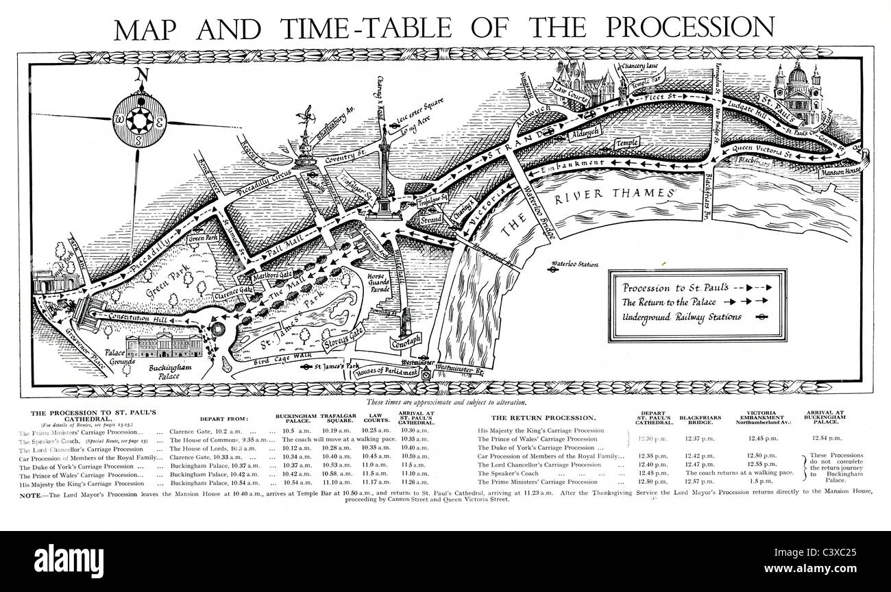 Map and time-table of the procession of King's George Jubilee, from the souvenir programme, published by HMSO. - Stock Image