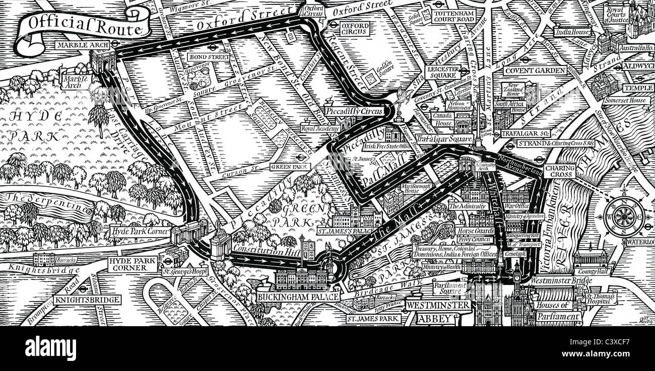 map of the coronation procession of their majesties king george vi and queen elizabeth published by hmso london uk 1937