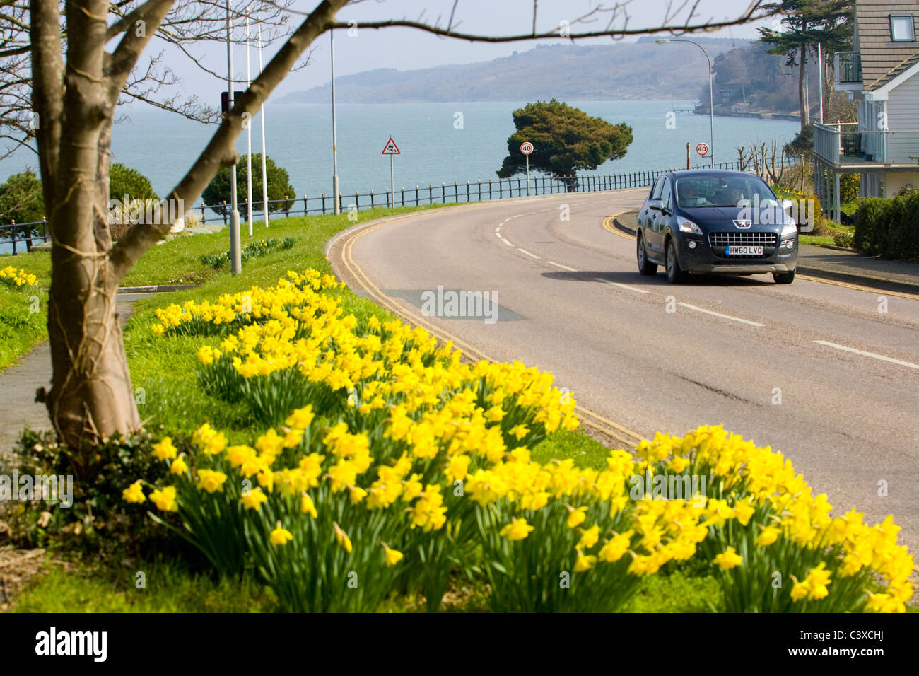 Causeway, Tennyson Road, Yarmouth, Isle of Wight, UK - Stock Image