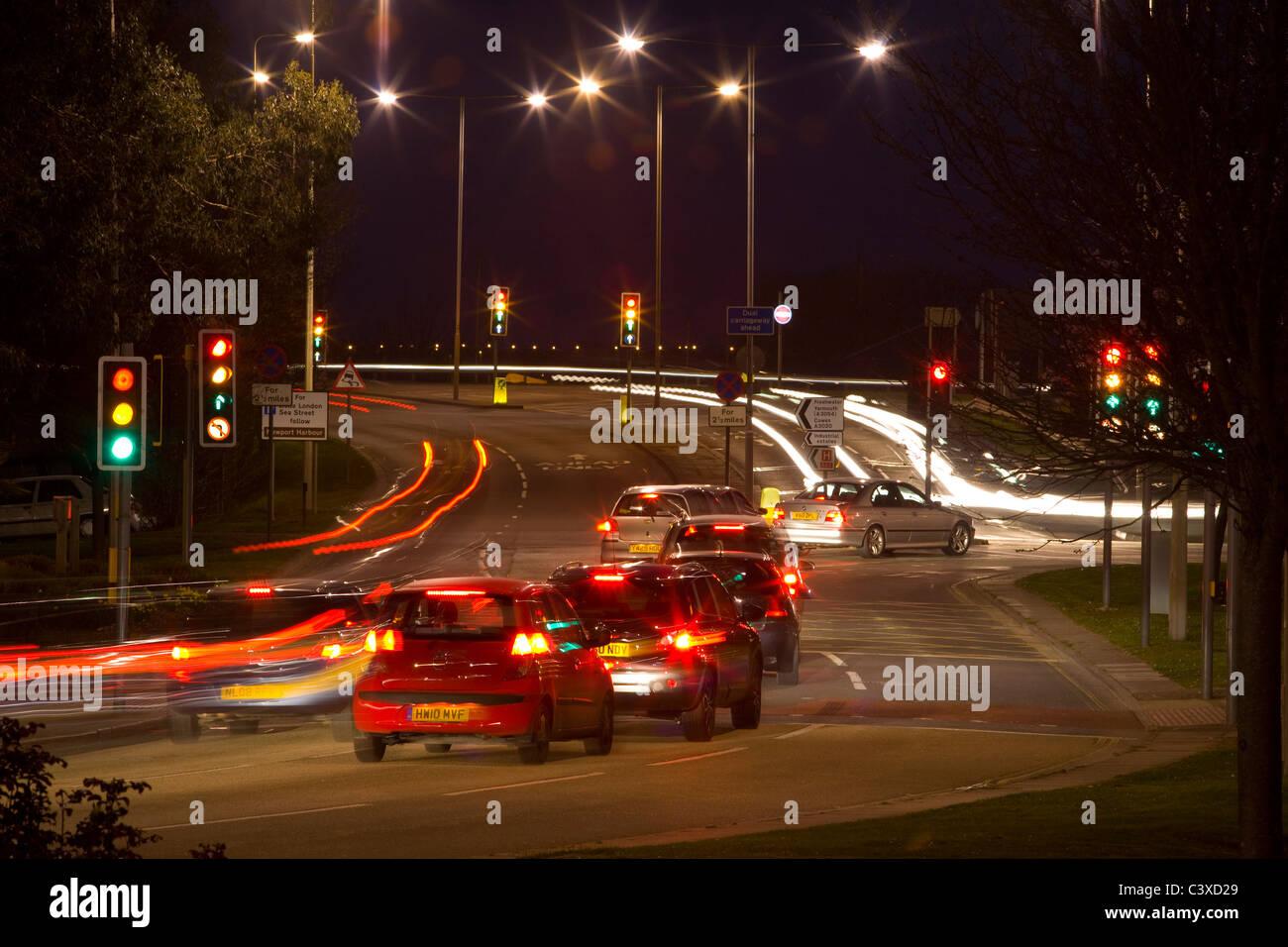Isle of Wight, Newport, Night, Roundabout, Cippins Bridge - Stock Image