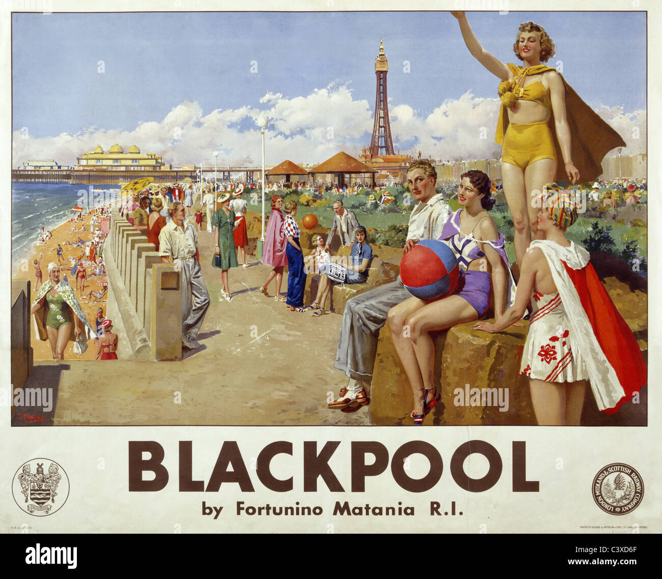 Blackpool, by Fortunino Matania. England, early 20th century - Stock Image