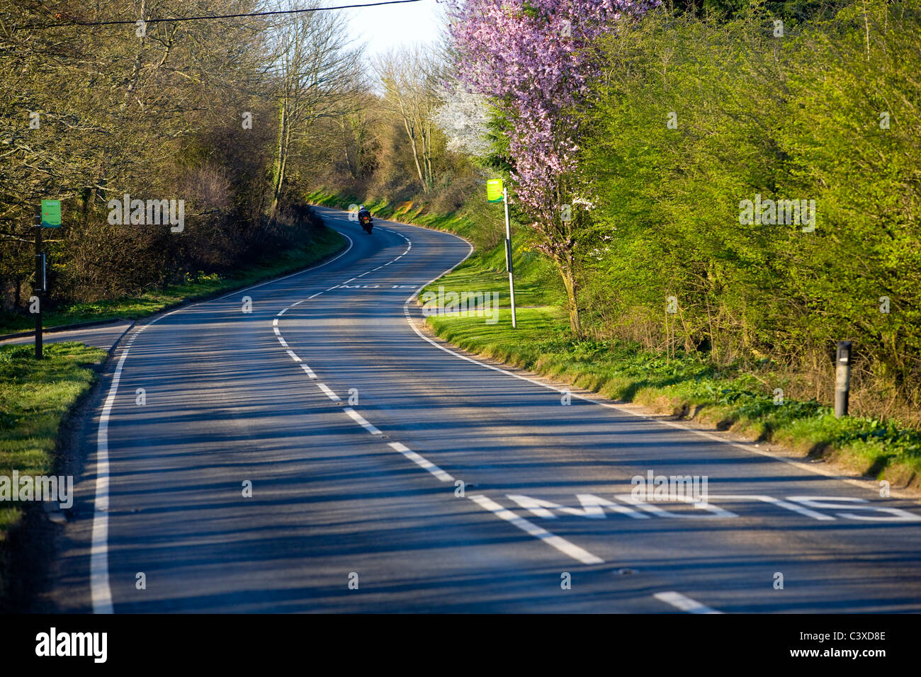Traffic, Road Signs, Road Markings, A3020, Blackwater  Rookely  Godshill, Isle of Wight, England, UK, - Stock Image
