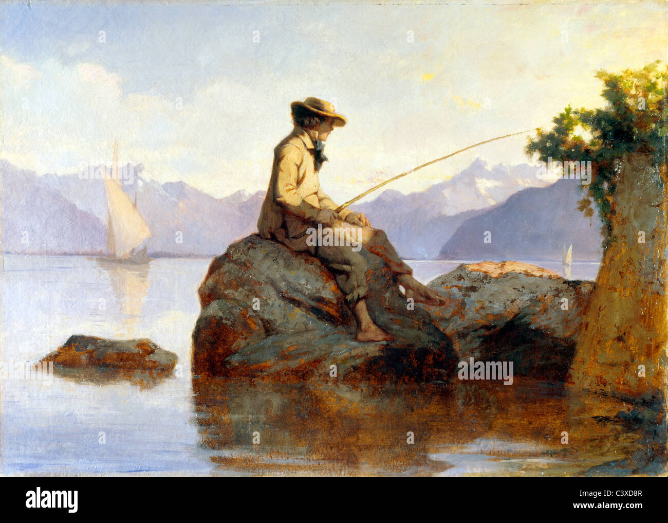 Oil painting of a man fishing, by Franþois Louis David Bocion. Switzerland, 19th century - Stock Image