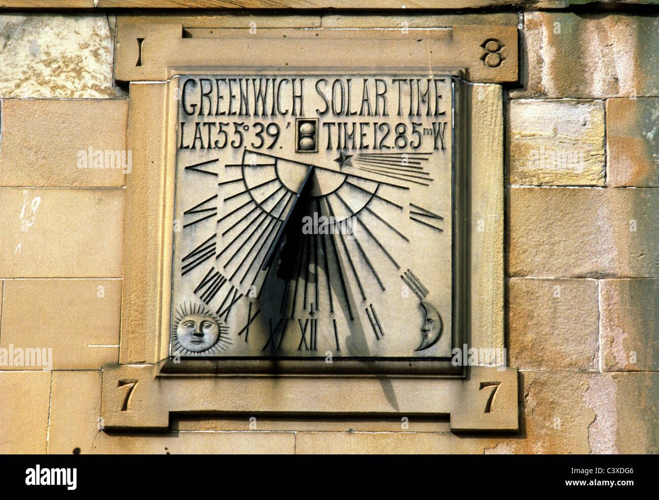 Peebles, Scotland, Sundial 1877, High Street Scottish victorian 19th century sundials UK Stock Photo