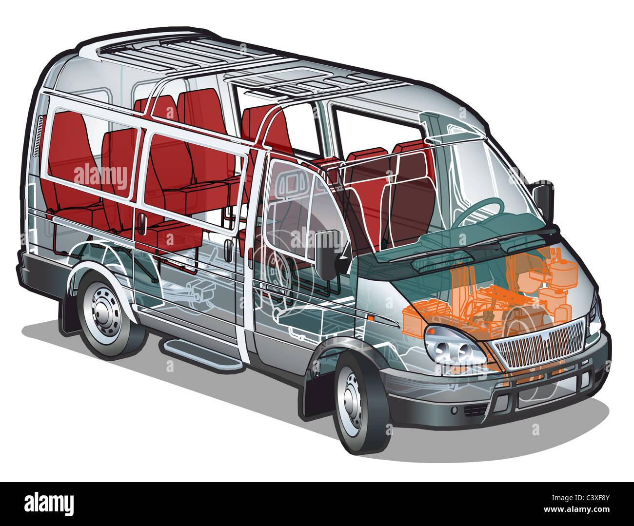 Mini van infographics cutaway Stock Photo