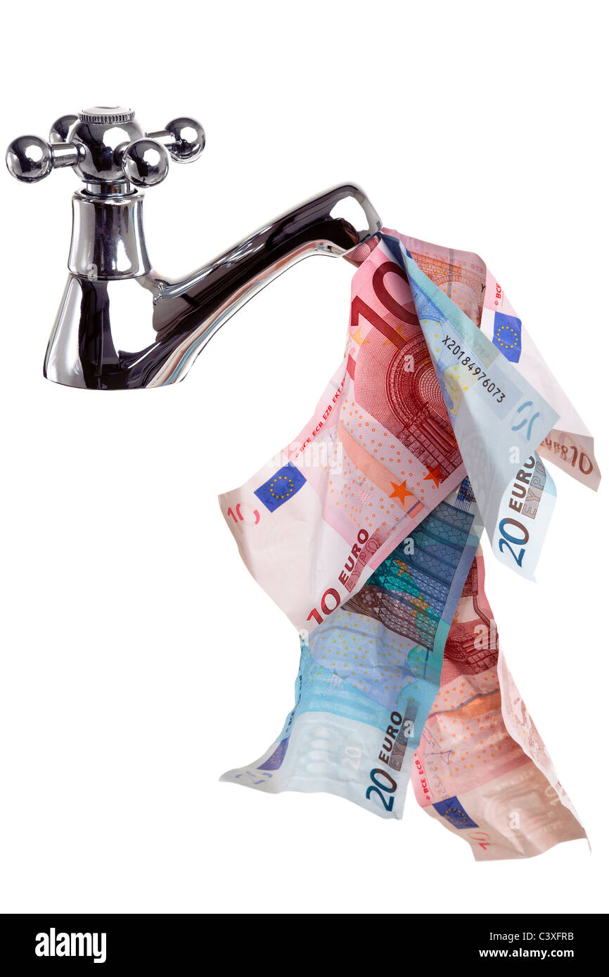 Photo of a tap or faucet with money flowing from it, good cashflow concept image, isolated on a white background. - Stock Image