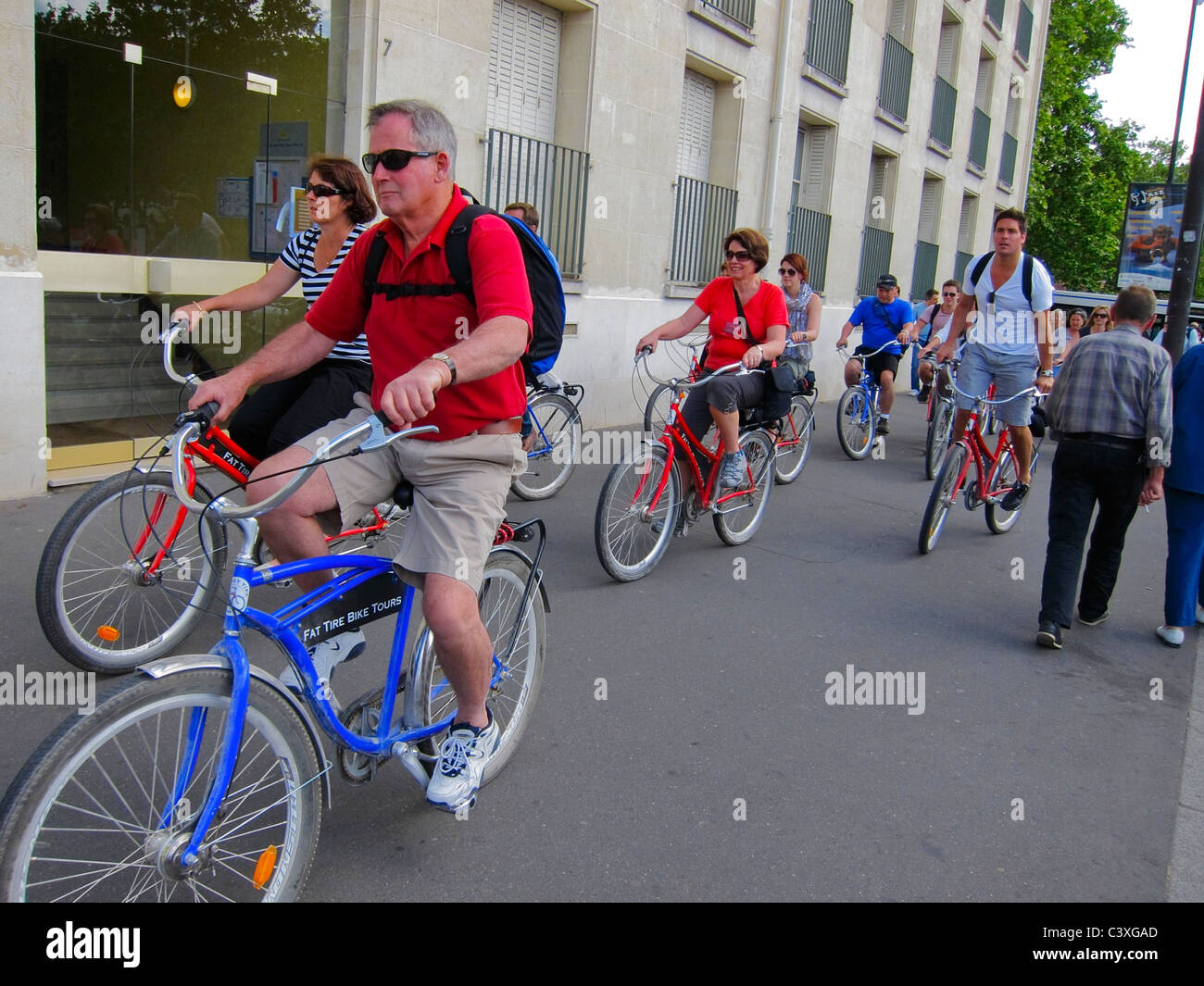 Versailles, France, Urban Street Scenes, Group Senior Tourists Riding Rented Bicycles - Stock Image