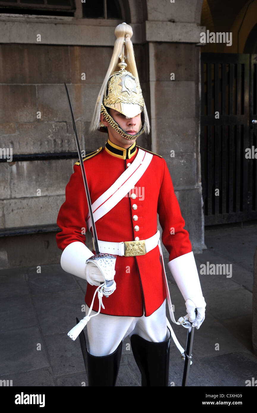 A cavalry trooper of the Life Guards of the Household Cavalry on parade. - Stock Image