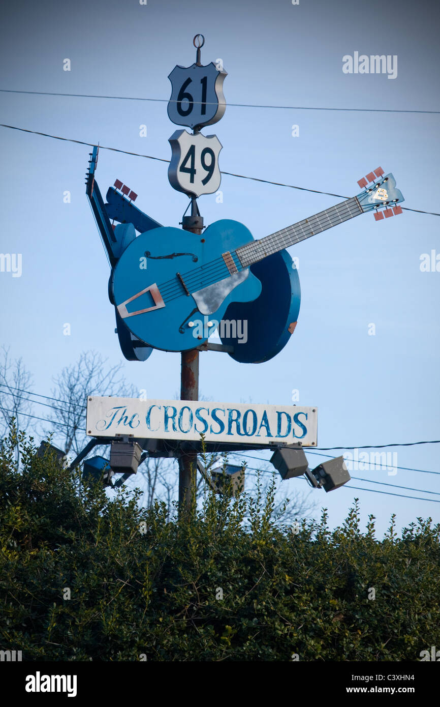 Legendary crossroads in Clarksdale, Mississippi delta, where Robert Johnson sold his soul to the devil - Stock Image