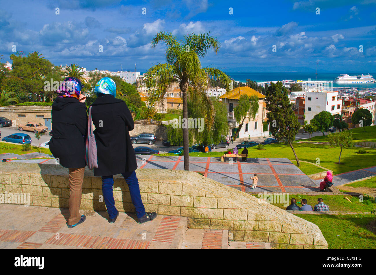 View from Terrasse des Paresseux platform onto Strait of Girbraltar new town Tangier Morocco Africa Stock Photo