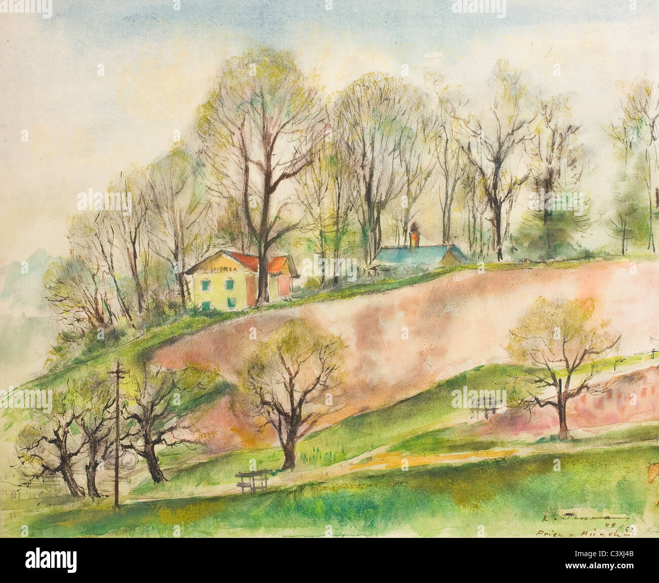 Landscape painting near the city of Prien - water color on paper by Kurt Tessmann Stock Photo