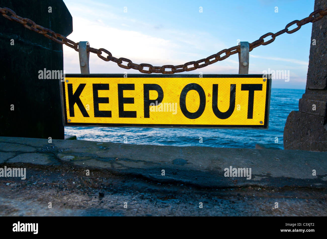 'keep out',sign,danger,coast,sea,beach,chain, - Stock Image