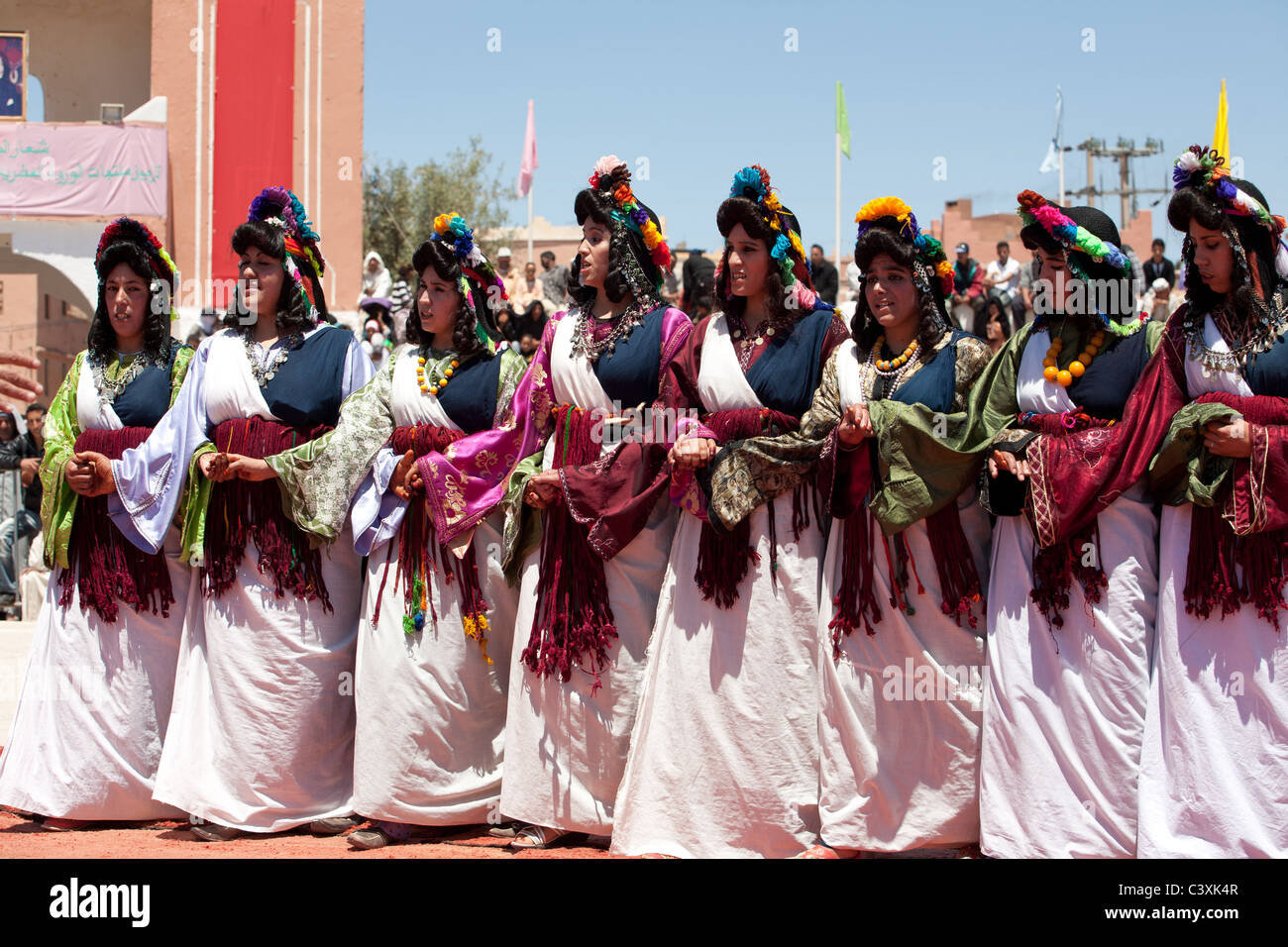 Traditional Performers During The Annul Rose Festival El Kelaa Stock
