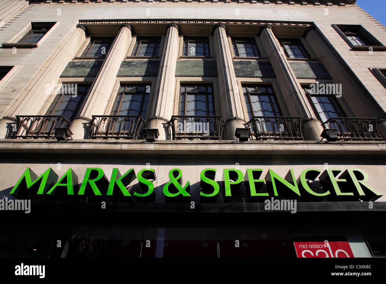 Marks & Spencer shop front, Birmingham, England, UK - Stock Image