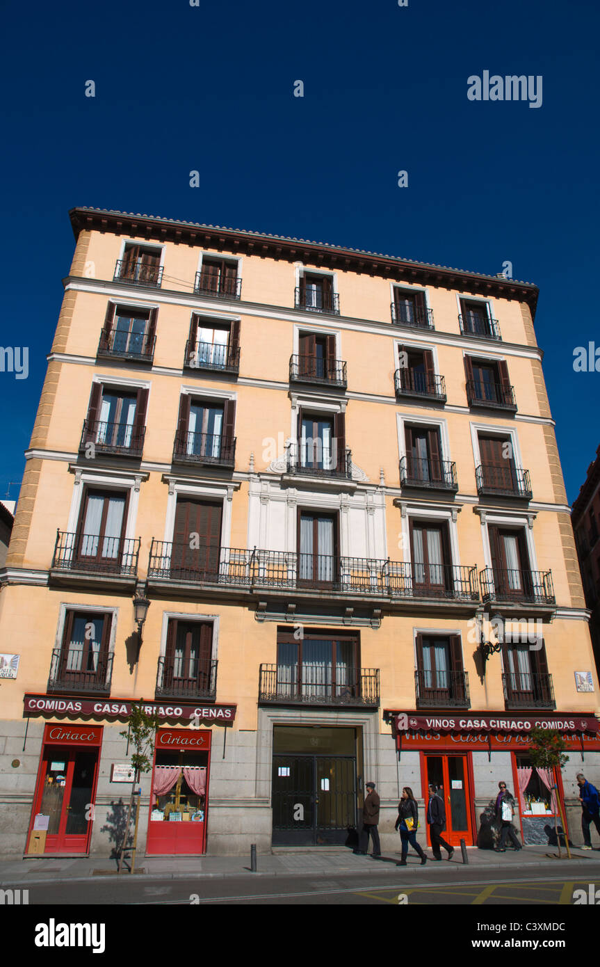 Architecture along Calle Mayor street central Madrid Spain Europe - Stock Image