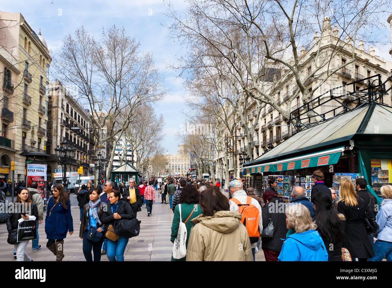 La Rambla (Las Ramblas) in early spring/late winter, Barcelona, Catalunya, Spain - Stock Image