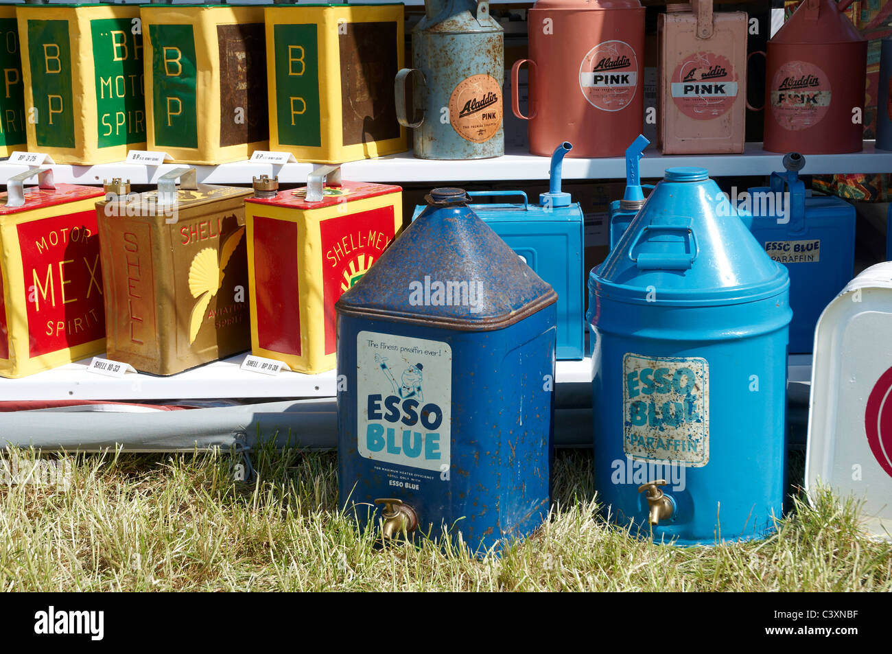 Old petrol and paraffin cans on display at a vintage fair. Used for storage  and delivery of fuels up to the late 1970 s. e3b5162f0aa96