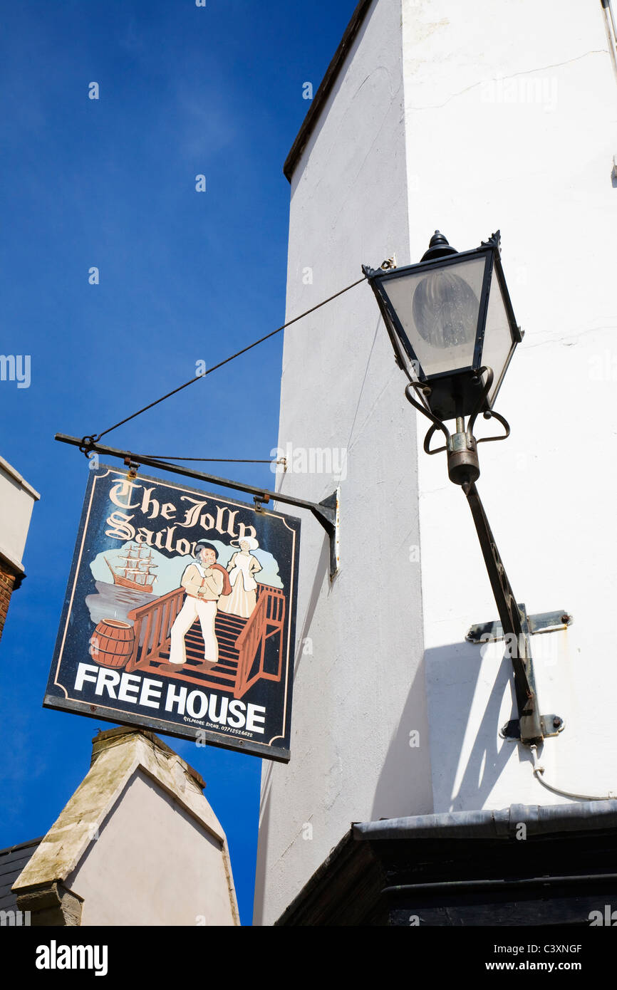 'The Jolly Sailor' public house sign in Blue Town, Sheerness, Isle of Sheppey, Kent. - Stock Image