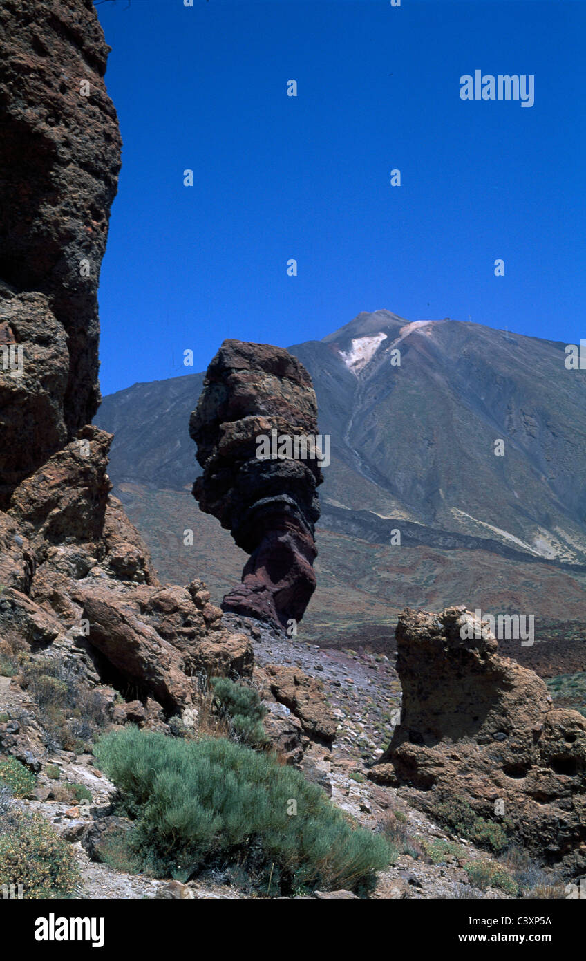 Eroded lava formations in Las Canadas, Teide, Tenerife - Stock Image
