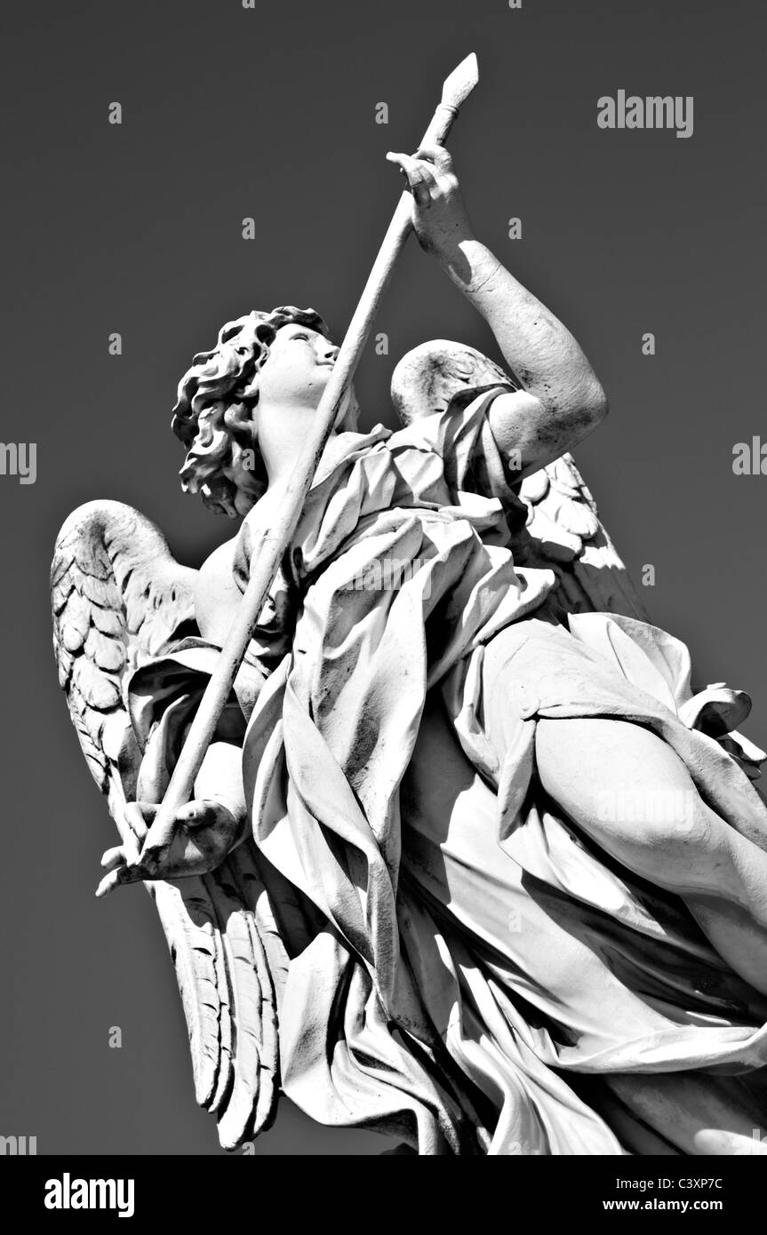 Angel with the Lance- One of the marble Bernini Angels on the Saint Angel / San angelo/ bridge - Stock Image