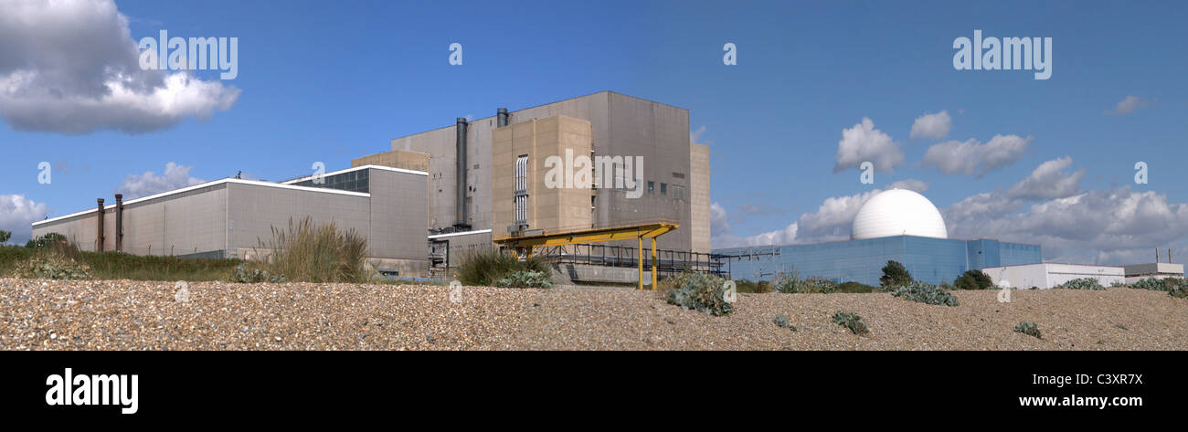 Panoramic view of Sizewell A and B nuclear power stations from Sizewell beach. - Stock Image
