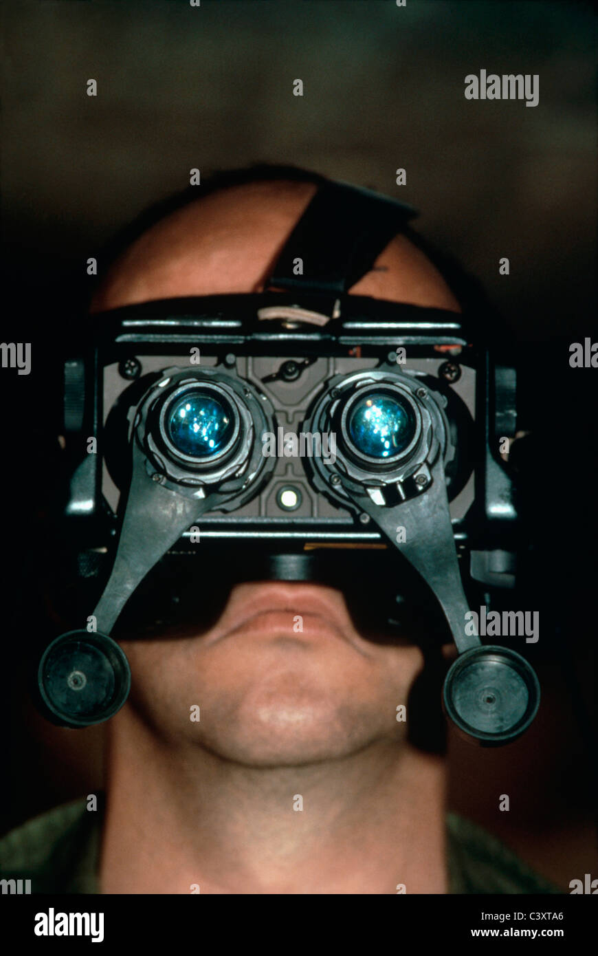 Israeli Secret Service agent wears night vision goggles. Israel - Stock Image