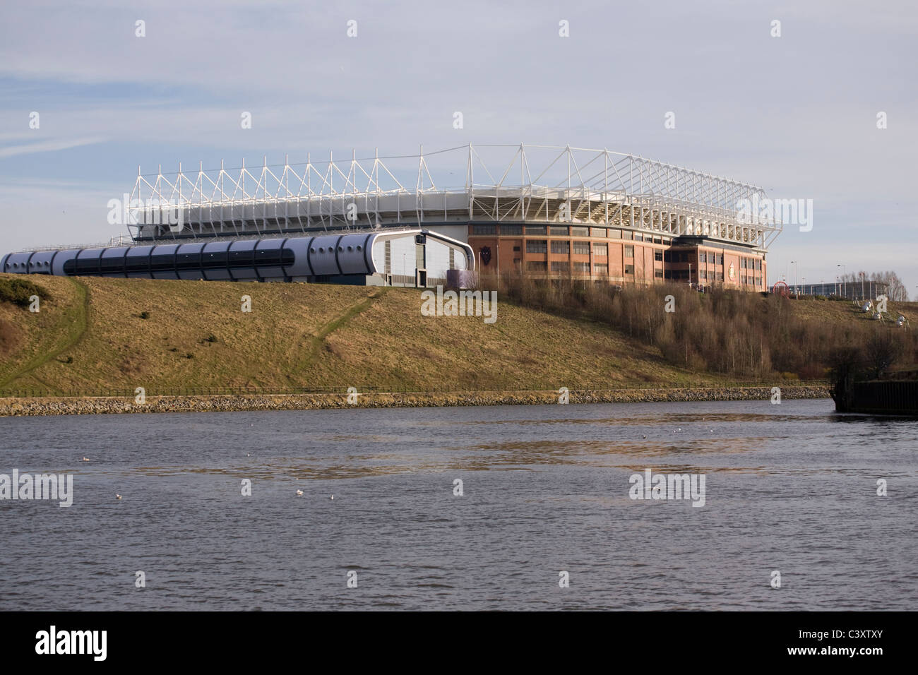 The Sunderland Aquatic Centre and the Stadium of Light, home of Sunderland AFC on the banks of the River Wear - Stock Image