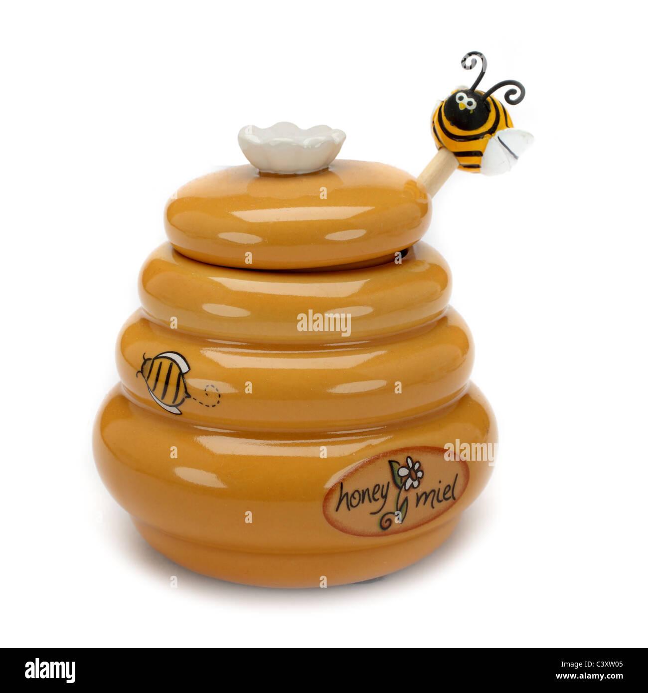 porcelain honey pot - Stock Image