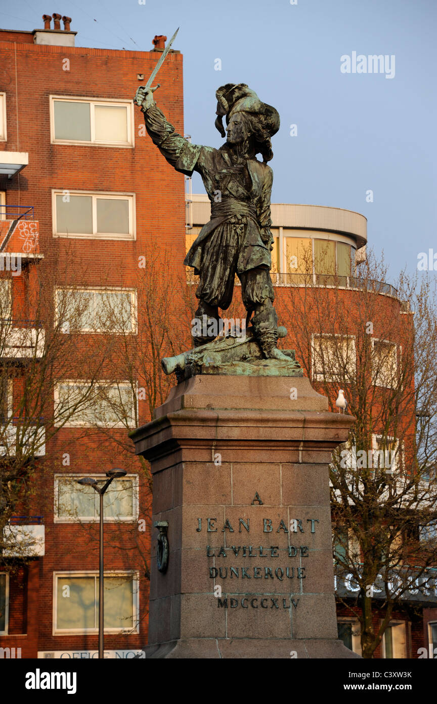 Dunkerque,Nord,Nord-Pas-de-Calais,France. Jean Bart statue,French Naval Commander 1651-1702 Stock Photo