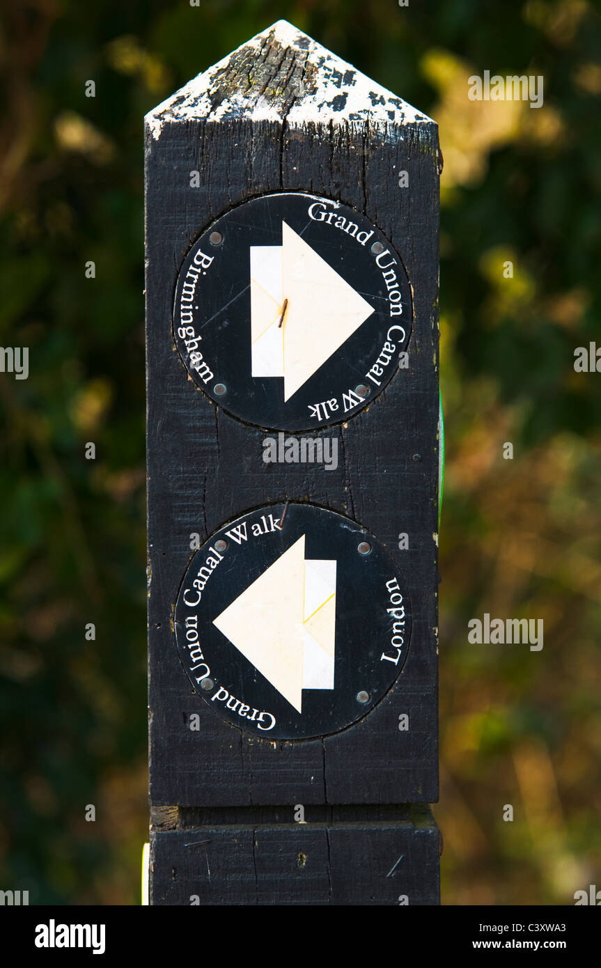 Towpath post on the Grand Union Canal showing the directions to London and Birmingham - Stock Image