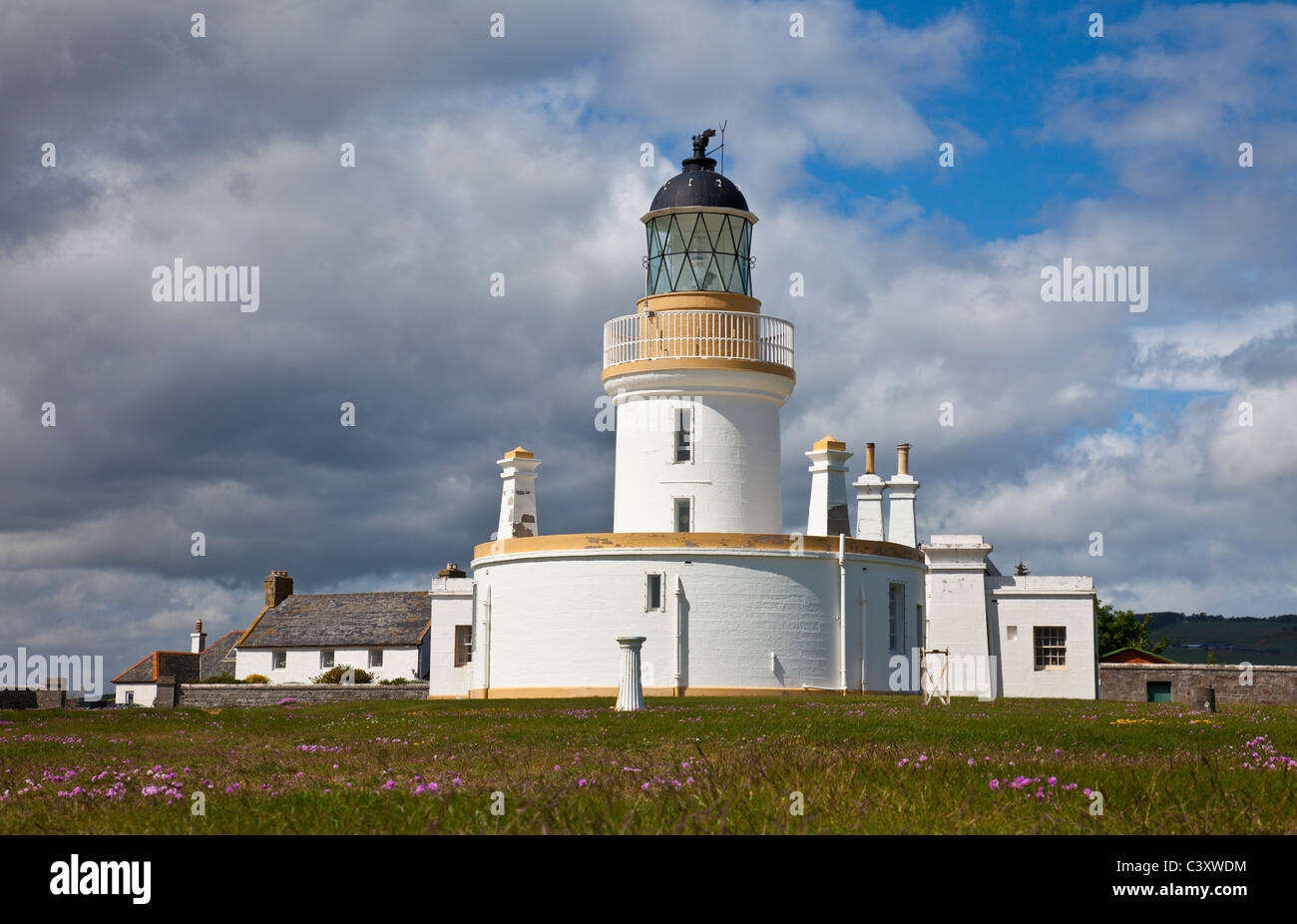 Lighthouse at Chanonry Point on the Black Isle near Inverness, Scotland, UK. Built in 1846, unmanned and automated - Stock Image
