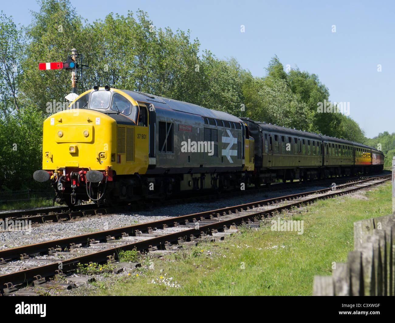 Diesel train on East Lancs Railway, Ramsbottom - Stock Image