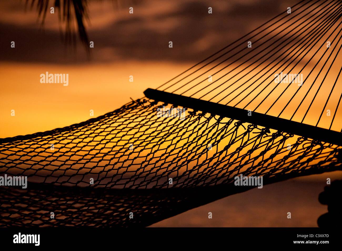 silouhette of hammock on beach overlooking ocean at sunset - Stock Image