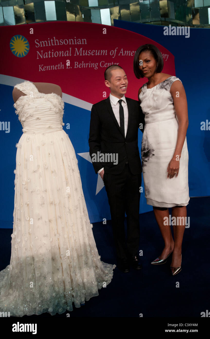 Michelle Obama And Jason Wu Look At The Inaugural Gown During A