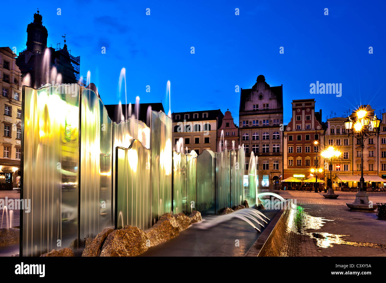 Contemporary fountain in Old Town, Wroclaw, Poland - Stock Image