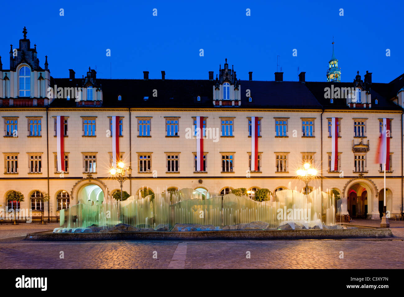 Contemporary fountain on Market Square, Old Town, Wroclaw, Poland Stock Photo