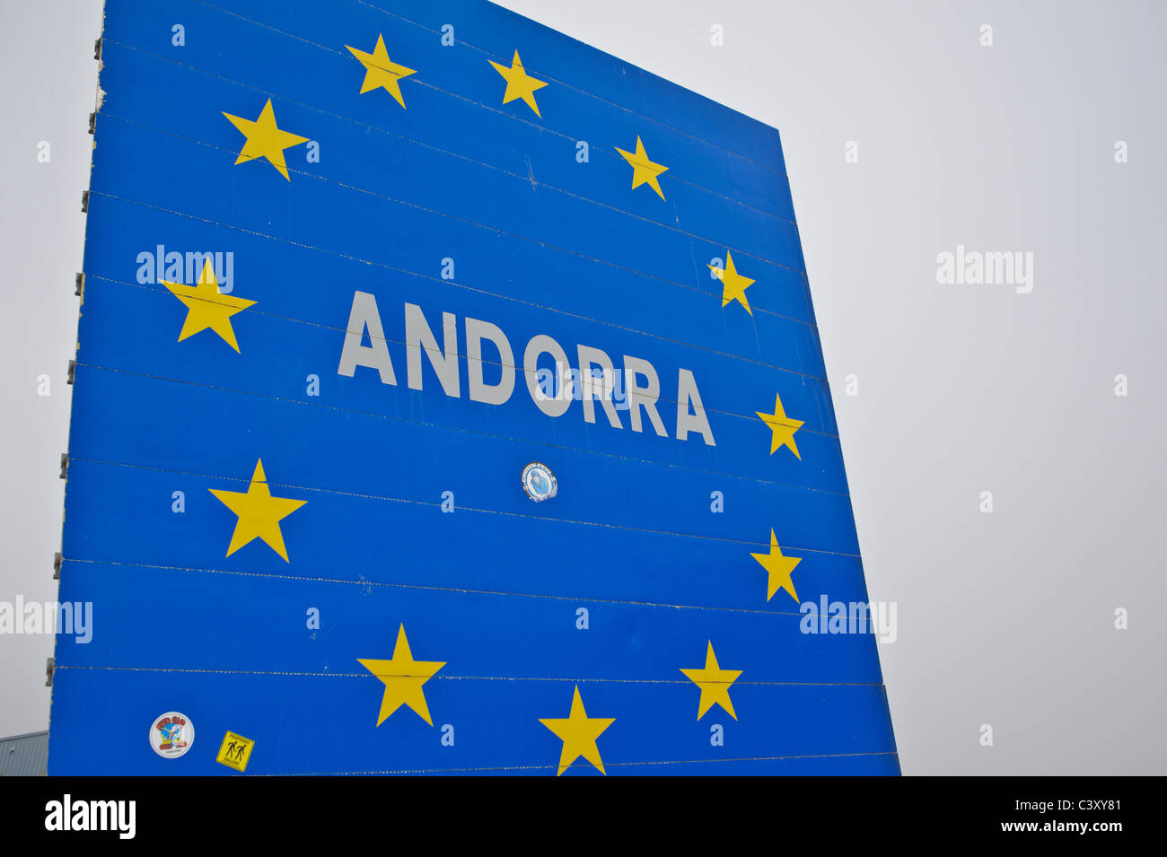 European Union sign with Andorra at its centre - Stock Image