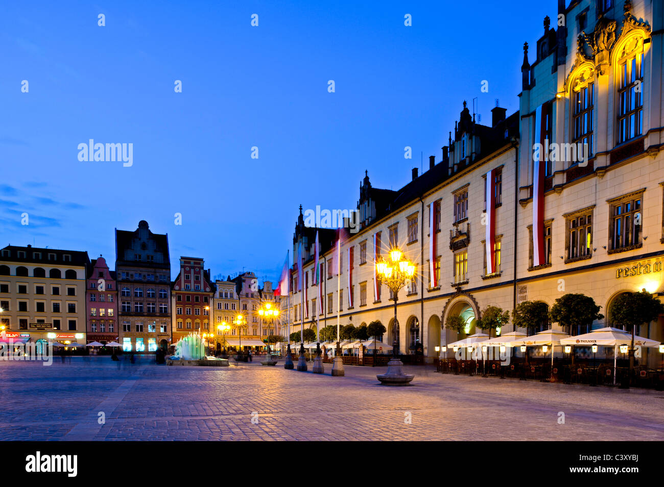 Market Square at dusk, Wroclaw, Poland - Stock Image