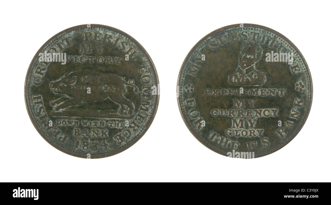 1834 Hard Times Token, obverse and reverse. - Stock Image