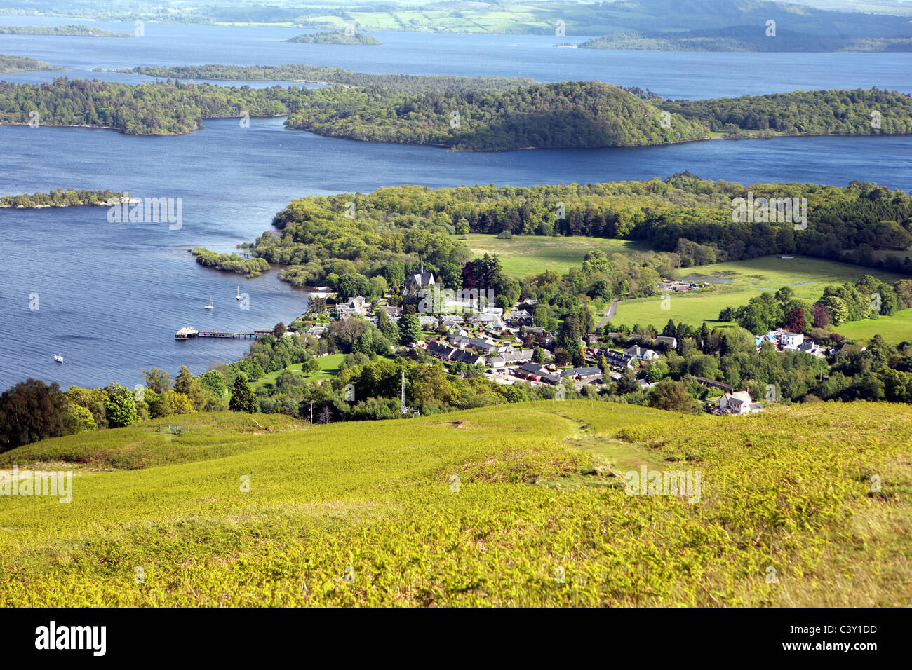 Loch Lomond and the village of Luss from the slopes of Beinn Dubh - Stock Image