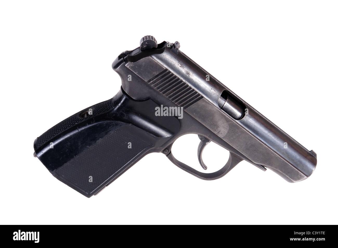 pistol isolated on white background - Stock Image