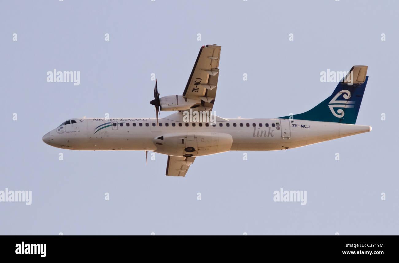 Airboren Aerospatiale ATR72 twin-engined turboprop plane belonging to the Air New Zealand fleet - Stock Image