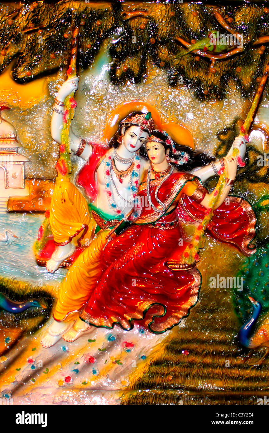 A sculpture of Lord Krishna and Radha - Stock Image