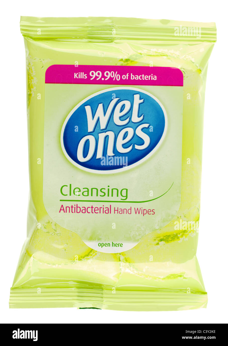 Packet of Wet Ones cleansing antibacterial hand wipes - Stock Image