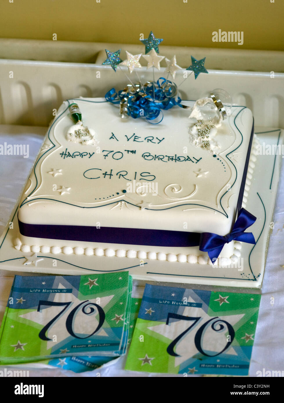 Astonishing Birthday Cake With White Icing And Ribbon For 70Th Birthday Of Personalised Birthday Cards Sponlily Jamesorg