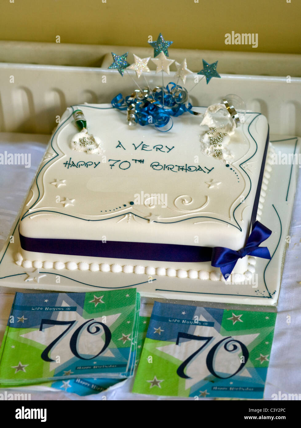 Birthday Cake With White Icing And Ribbon For 70th